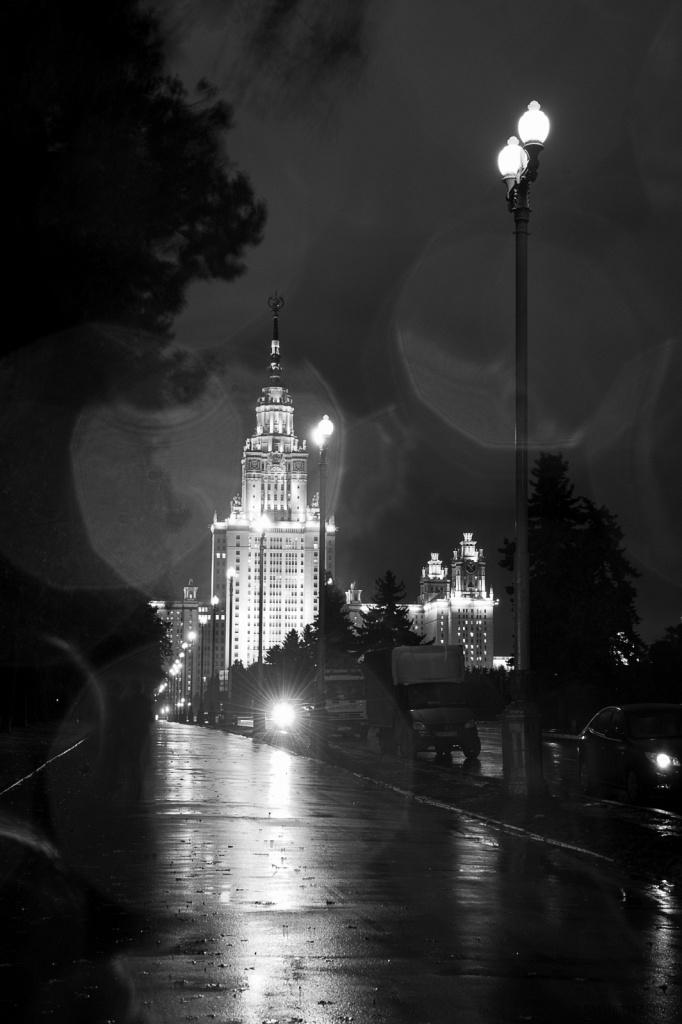 Московский государственный университет ночью