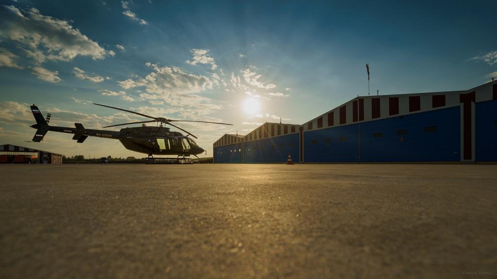 Вертолёт на закате