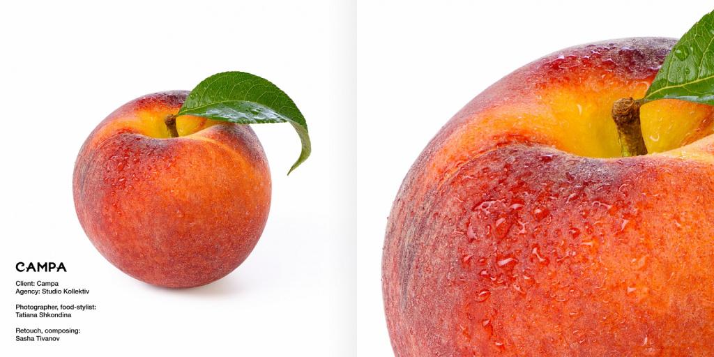 Персик, рекламная съёмка для соков