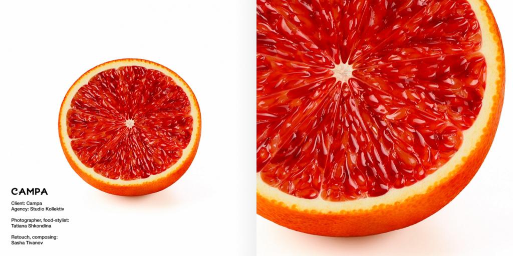Кровавый апельсин, рекламная съёмка для соков